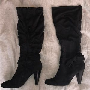 Shoes - black mid calf slouch boots